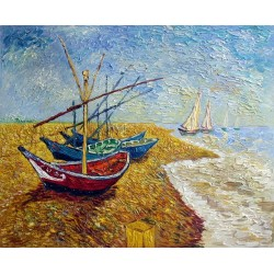 Fishing Boats on the Beach at Saintes-Maries by Vincent Van Gogh - Art gallery oil painting reproductions