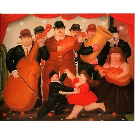 Ball in Colombia 1980 By Fernando Botero - Art gallery oil painting reproductions