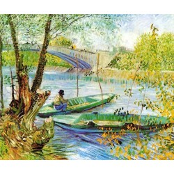 Fishing in Spring, Pont de Clichy by Vincent Van Gogh - Art gallery oil painting reproductions