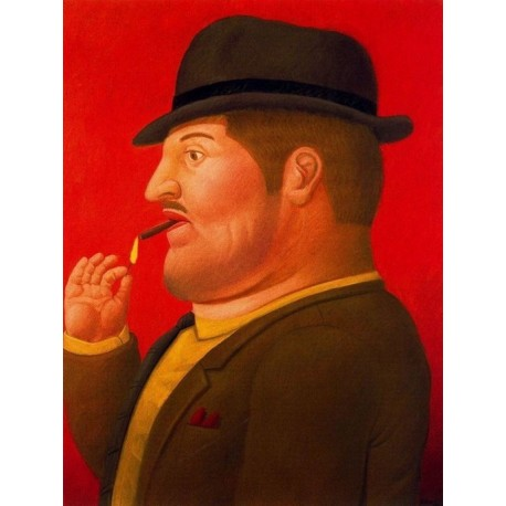 Hombre fumando By Fernando Botero - Art gallery oil painting reproductions