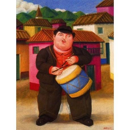 Hombre tocando el tambor By Fernando Botero - Art gallery oil painting reproductions