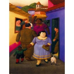 La calle By Fernando Botero - Art gallery oil painting reproductions