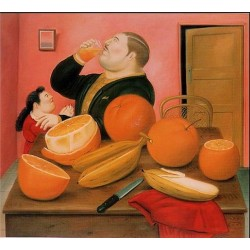 Man drink Orange Juice By Fernando Botero - Art gallery oil painting reproductions