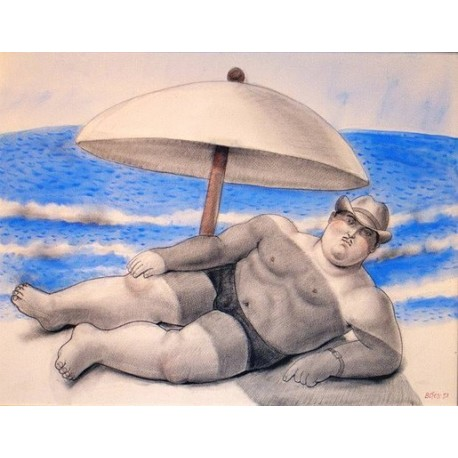 Man On The Beach By Fernando Botero - Art gallery oil painting reproductions