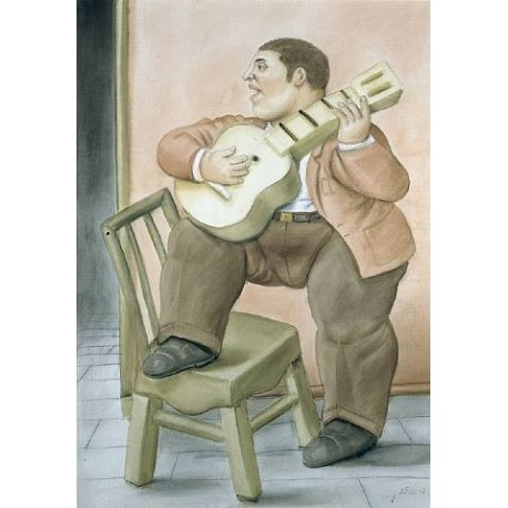 Man Playing Guitar By Fernando Botero - Art gallery oil painting reproductions
