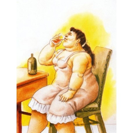 Mujer bebiendo By Fernando Botero - Art gallery oil painting reproductions