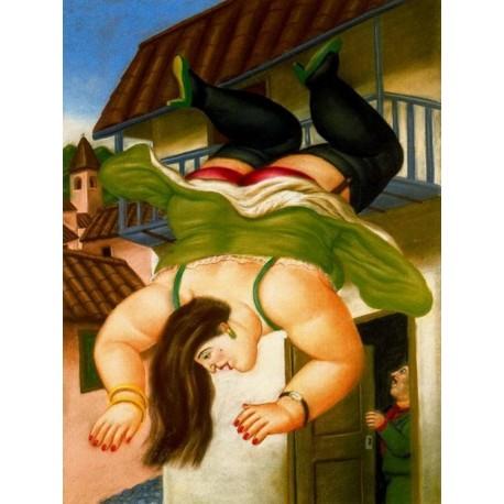 Mujer cayendo de un balcon By Fernando Botero - Art gallery oil painting reproductions