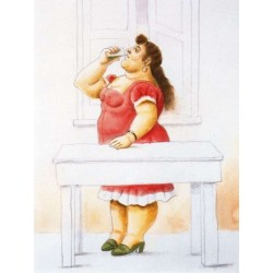 Mujer de pie-bebiendo By Fernando Botero - Art gallery oil painting reproductions