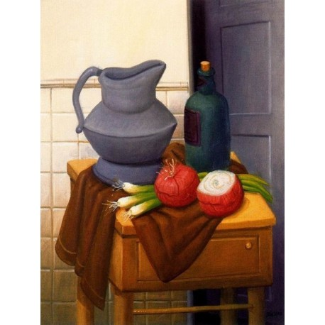 Naturaleza muerta con cebollas By Fernando Botero - Art gallery oil painting reproductions