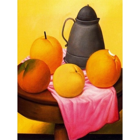 Naturaleza muerta con frutas By Fernando Botero - Art gallery oil painting reproductions