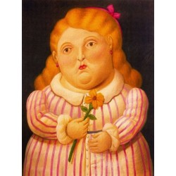 Nina con flor By Fernando Botero - Art gallery oil painting reproductions