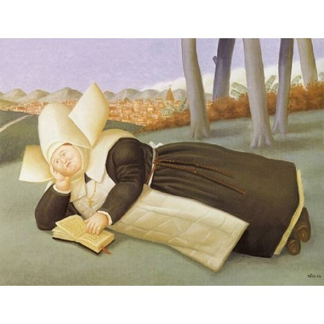 Reclined Nun By Fernando Botero - Art gallery oil painting reproductions