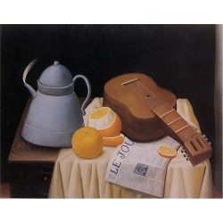 Still Life with Le Journal By Fernando Botero - Art gallery oil painting reproductions