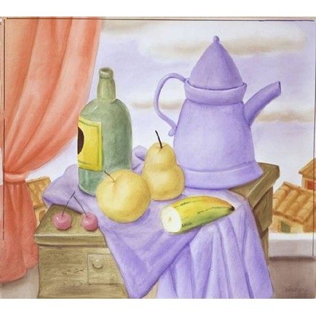 Still Life With Green Bottle By Fernando Botero - Art gallery oil painting reproductions