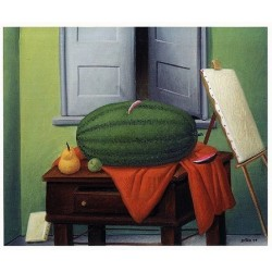 Still Life With Watermelon By Fernando Botero - Art gallery oil painting reproductions