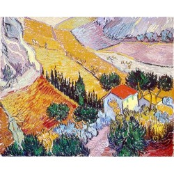Landscape with House and Ploughman by Vincent Van Gogh - Art gallery oil painting reproductions
