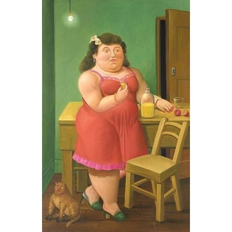 Woman Drinking With Cat By Fernando Botero - Art gallery oil painting reproductions