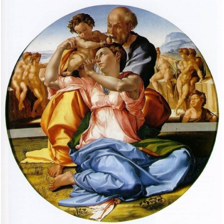 The Holy Family with the Infant John the Baptist by Michelangelo-Art gallery oil painting reproductions