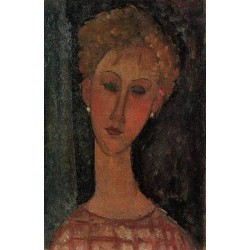 A Blond Wearing Earings by Amedeo Modigliani oil painting art gallery