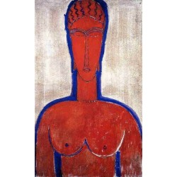 Big Red Buste (aka loopold II) by a Door by Amedeo Modigliani