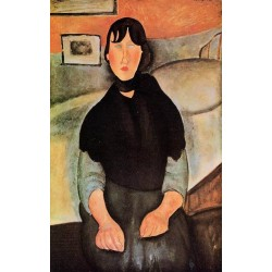 Dark Young Woman Seated By A Bed by Amedeo Modigliani oil painting art gallery