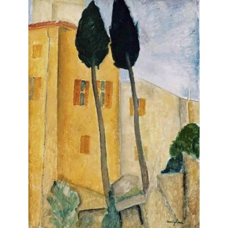 Cypress Trees And Houses, Midday Landscape by Amedeo Modigliani