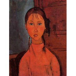 Girl With Braids by Amedeo Modigliani oil painting art gallery