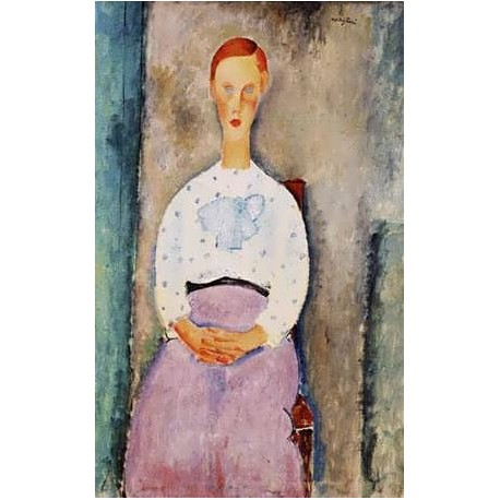 Girl With Polka-Dot Blouse by Amedeo Modigliani oil painting art gallery