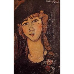 Head Of A Woman In A Hat by  Amedeo Modigliani by Amedeo Modigliani oil painting art gallery