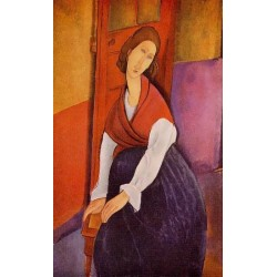Jeanne Hebuterne (aka In Front of a Door) by Amedeo Modigliani oil painting art gallery