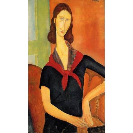 Jeanne Hebuterne In A Scarf by Amedeo Modigliani oil painting art gallery