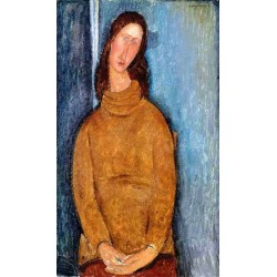 Jeanne Hebuterne in a Yellow Jumper by Amedeo Modigliani oil painting art gallery