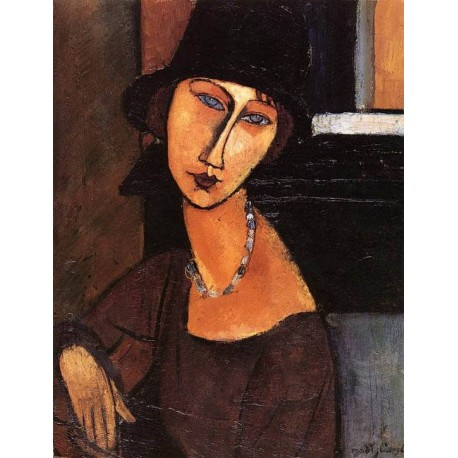 Jeanne Hebuterne With Hat And Necklace by Amedeo Modigliani oil painting art gallery