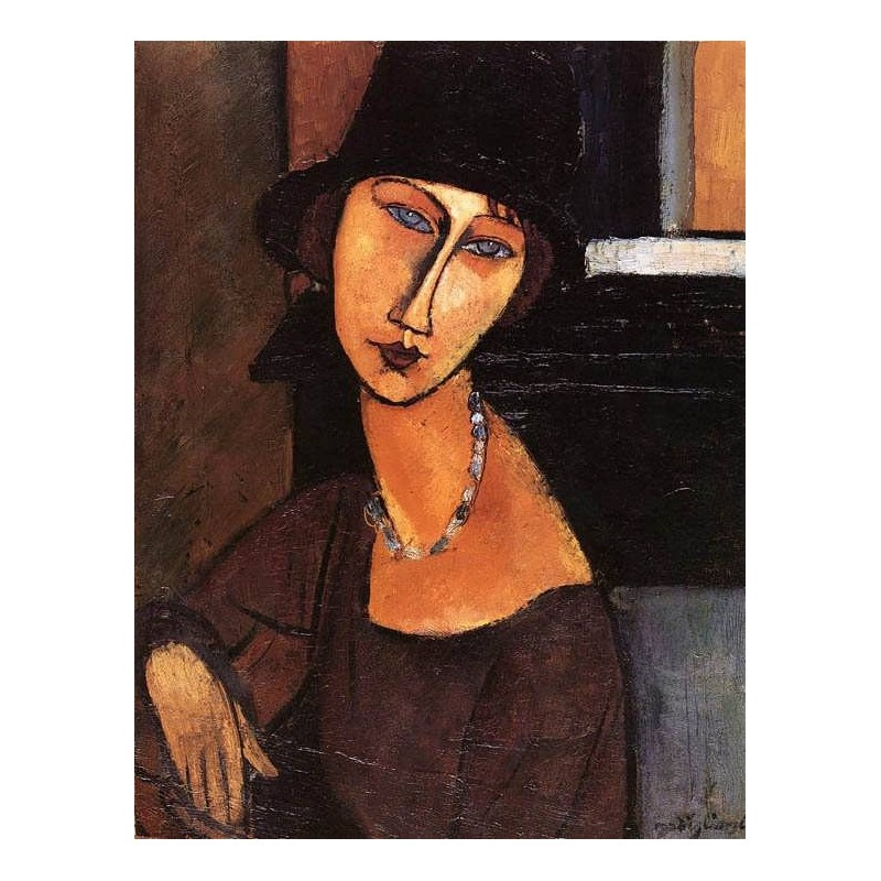 Quot Jeanne Hebuterne With Hat And Necklace Quot By Amedeo Modigliani Oil Painting Reproductions