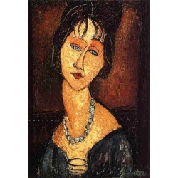 Jeanne Hebuterne with Necklace by Amedeo Modigliani oil painting art gallery