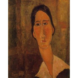 Jeanne Hebuterne with White Collar by Amedeo Modigliani oil painting art gallery