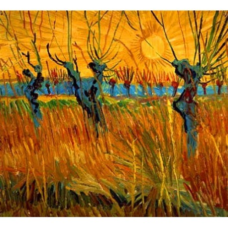 Pollard Willows with Setting Sun 1888 by Vincent Van Gogh