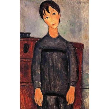 Little Girl in Black Apron by Amedeo Modigliani