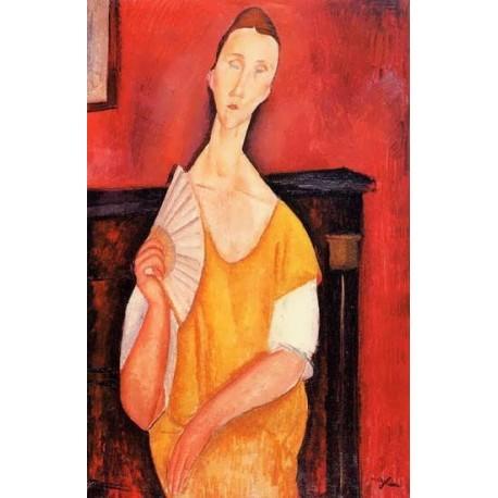Madame Lunia Czechowska with a Fan by Amedeo Modigliani