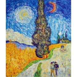 Road with Cypress and Star by Vincent Van Gogh - Art gallery oil painting reproductions
