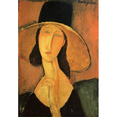 Portrait Of A Woman With Hat By Amedeo Modigliani Oil