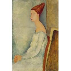 Portrait of Jeanne Hebuterne Seated in Profile by Amedeo Modigliani
