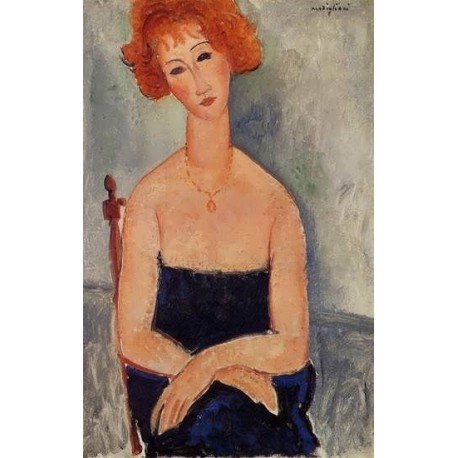 Readhead Wearing a Pendant by Amedeo Modigliani