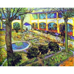 The Courtyard of the Hospital in Arles by Vincent Van Gogh - Art gallery oil painting reproductions