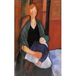 Seated Woman with Child (aka Motherhood) by Amedeo Modigliani