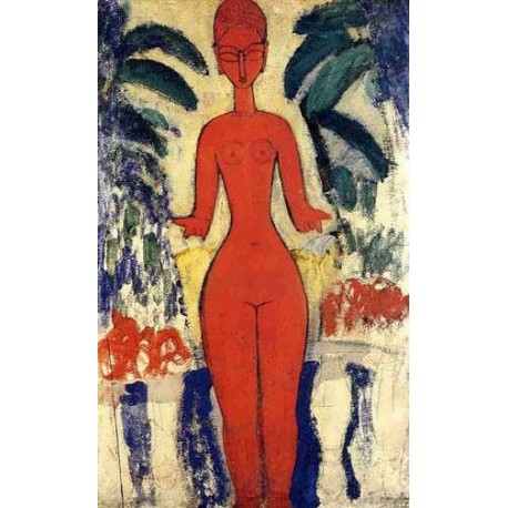 Standing Nude With Garden Background by Amedeo Modigliani