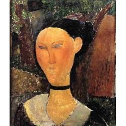 Woman with Velvet Ribbon (aka The Black Border) by Amedeo Modigliani