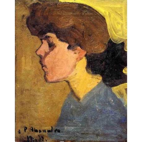 Woman_s Head in Profile by Amedeo Modigliani