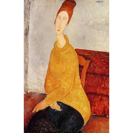 Yellow Sweater (aka Portrait of Jeanne Hebuterne) by Amedeo Modigliani