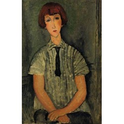 Young Girl in a Striped Blouse by Amedeo Modigliani oil painting art gallery